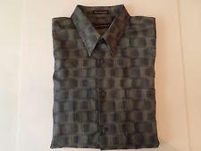 Jhane Barnes Mens Size XL Long Sleeve Shirt Cotton/Rayon Shades of Gray Fine