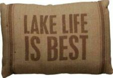 """Lake Life is Best Lodge Brown Linen Canvas Cabin Couch Throw Pillow, 10""""x15"""""""