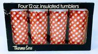Vintage Thermo-Serv Insulated Tumbler Set of 4 12 Oz NOS New NIB w Box Gingham