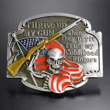 "Second Amendment Men's Belt Buckle USA PRIDE ""Give Up My Gun""  1.5 Inch Belt"