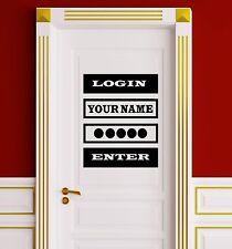 Vinyl Decal Quote Login Password Video Game Computer Door Wall Stickers (ig3346)
