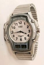 VINTAGE MENS CASIO (AW-24) DUAL TIME AUTO CALENDAR WATCH. RUNS. GOOD SHAPE.