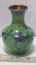 """Antique Chinese Cloisonne Green Enamel Miniature Vase Floral Clouds Design. 3.1"""""""