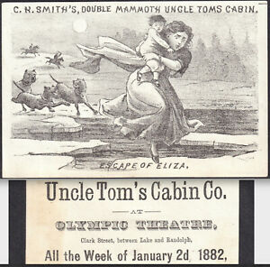 Uncle Toms Cabin 1882 Chicago Olympic Theater C.H. Smiths Eliza Ice Trade Card