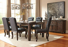 ALLEGRO 7 pieces Traditional Dining Room Brown Rectangular Table Gray Chairs Set