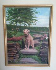 Painting of Wheaten Terrier in Formal Garden 17 x 12.5 In Framed Signed O Zavada
