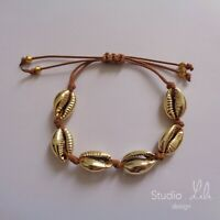 Bracelet coquillage doré or cordon marron Studio LiLi