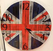 Horloge murale mur en bois drapeau anglais fait à la main 40 cm