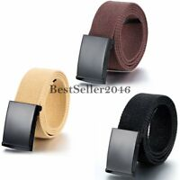 Military Web Canvas Waist Belt Men's Women's Adjustable Slider Buckle Waistband