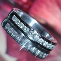 14k white gold wedding band ring 0.50ct diamond size 7.5 vintage handmade 3.2gr