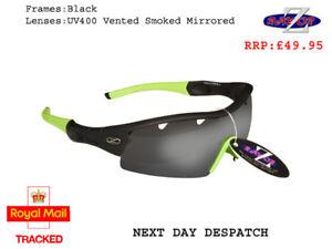 RayZor Black Sports Wrap Sunglasses Uv400 Vented Smoke Mirror Lens RRP£49 (220-L