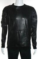 En Noir Men's Black Leather Laser Cut Crewneck Shirt Size Large New $1450 085276