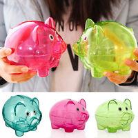Clear PIGGY Bank Coin Money Plastic Cash Openable Saving Box Kid Pig Q5U4