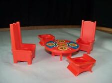 Fisher Price Vintage Play Family Castle Dining Furniture Table 4 Chairs