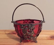 Antique Silver Plated Swing Handle Basket Scroll Feet Ruby Glass Liner 1890s