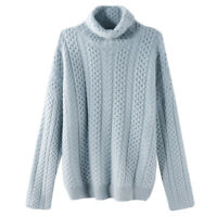 Women Cashmere Twist Knit Sweater High Neck Warm Oversize Pullover Jumper