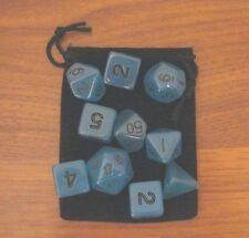 New 16mm GLOW-IN-THE-DARK BLUE rpg d&d Dice Set 7+3d6=10 polyhedral die plus bag