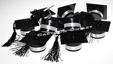 12 PC GRADUATION BLACK CAP AND TASSEL  PARTY FAVORS RECUERDOS KEEPSAKES FILLABLE