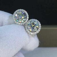 4Ct Round Cut DIAMOND Push Back Halo Stud WEDDING Earrings 14K White Gold Finish