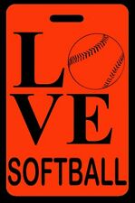 Hi-Viz Orange Love Softball Bag Tag - Free Personalization