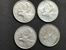 4 pieces of 25 CENTS - ALL SILVER - 1941 - 1953 - 1955 - 1968 - Lot # 104.