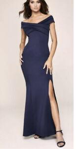 BNWT LIPSY @ NEXT OCCASION DRESS NAVY BARDOT SCUBA MAXI FRONT SPLIT UK16 NEW