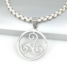 Silver Celtic Triskelion Triskele Spiral Pendant Braided White Leather Necklace