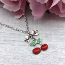 "Red CHERRY Silver NECKLACE Rockabilly CHARM Pendant 16""-18"" VINTAGE Pin Up Gift"