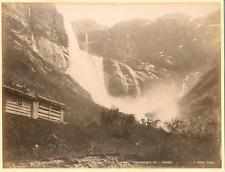 Knudsen. Norvège, Skjaeggedalsfossen, Odde, Hardanger Vintage albumen print.