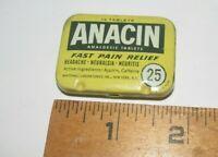 Vintage Anacin Aspirin  8 Tablets Tin liner and insert NO dent minor wear nice