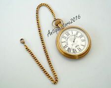 Vintage Marine Roman Dial Pocket Watch Fully Functional Beautiful Antique Finish