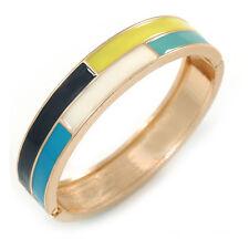 Blue/ White/ Lemon Enamel Oval Hinged Bangle Bracelet In Gold Tone Metal - 20cm