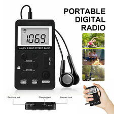 Personal Stereo AM FM Radio Portable Digital LCD Display w/ Earphones Portable