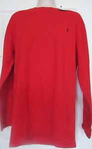 NWT POLO Ralph Lauren 1XL Red thermal lounge Shirt Mens Long sleeve top