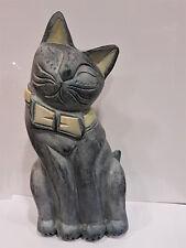 Katze mit Schleife Arkazien Holz geschnitzt originell Deko Tierfigur Skulptur