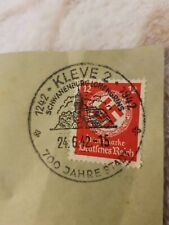 WW2 German RARE Nazi Swastika Stamp Red with Eagle Stamp On Original Document