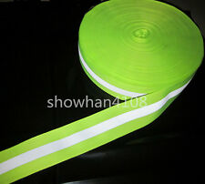 """Lime Green Reflective Fabric Tape Strip Edging Braid Trim Sew On For clothes 2"""""""