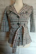 La Kitty Jacket Coat Womens Plaid Grey Pink Small