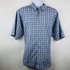 Wrangler Mens Shirt Size 2XL Blue Plaid Shortsleeved Buttonup Wrinkle Resist