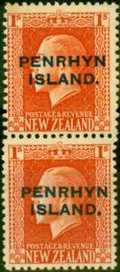 Penrhyn Island 1917 1s Vermilion SG27b Vertical Pair Fine Lightly Mtd Mint