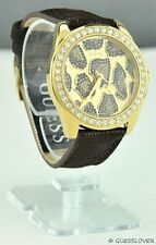 FREE Ship USA Chic Ladies Watch GUESS Brown Leather Women New W0056L2