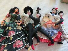 Lot of 5 Spanish dolls, 1 w/R-16 tag, 1 Spain 1957, 2 untagged, 1 Roldan