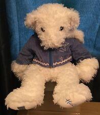 Hamleys 17 Inch White & Blue Plush Teddy Bear Soft Toy Dated 2004