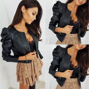 Women's PU Leather Puff Sleeve Coat Ladies Cropped Jacket Blazer Bomber Tops UK