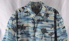 Men's Campia button front Hawaiian camp shirt XL beach palm trees drinks chairs