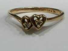 Adorable Genuine Diamonds & 10k Hearts Ring, finger size 6