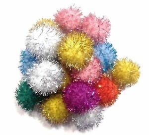 """10 Glitter Ball Cat Toys Fun Pom Poms, 1"""" W"""
