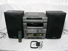 AIWA CX-ZR325 STEREO SYSTEM 5 CD DISC CHANGER/DUAL CASSETTE w/ SPEAKERS & Remote
