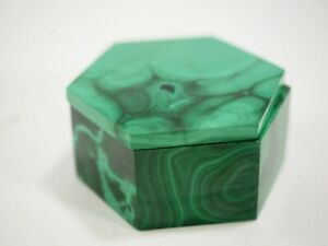 "Hand Cut Malachite six sided Lidded 2.35"" x 1.3"" Box"