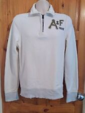 Abercrombie and Fitch Muscle white quarter zip jumper mens Small